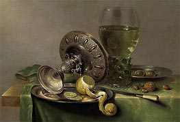 Still Life with a Tazza, Peeled Lemon and Roemer, c.1630 by Claesz Heda | Painting Reproduction