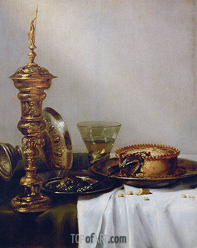 Breakfast Still Life with Chalice, 1634 | Claesz Heda| Painting Reproduction