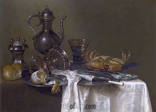 Still Life: Pewter and Silver Vessels and a Crab, c.1633/37 | Claesz Heda | Painting Reproduction