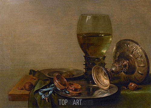 Still Life with Roemer and Silver Tazza, 1630 | Claesz Heda | Painting Reproduction