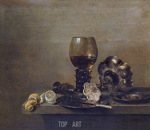Still Life with a Broken Glass, 1642 | Claesz Heda| Gemälde Reproduktion
