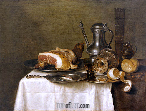 Still Life with Ham, 1649 | Claesz Heda | Painting Reproduction