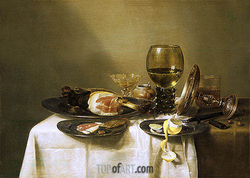 Still Life with a Ham and a Roemer, c.1631/34 | Claesz Heda | Painting Reproduction