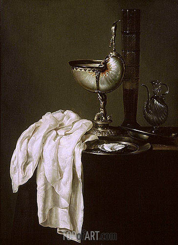 Still Life with Nautilus Cup and Oyster, 1640 | Claesz Heda | Painting Reproduction
