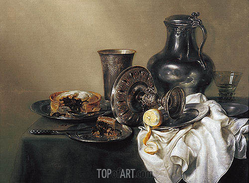 Still Life with Meat Pie, 1633 | Claesz Heda| Painting Reproduction