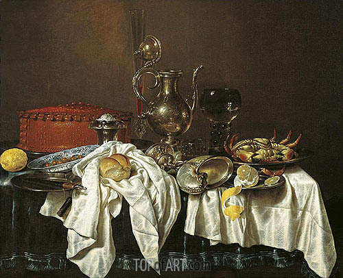 Still Life with Pie, Silver Can and Crab, 1658 | Claesz Heda | Painting Reproduction