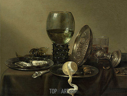Still Life with Oysters, a Rummer, a Lemon and a Silver Bowl, 1634 | Claesz Heda | Painting Reproduction
