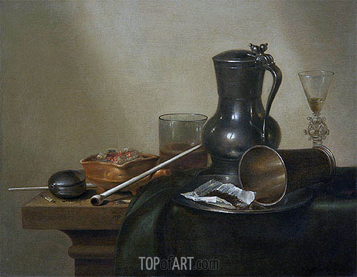 Tobacco Still Life, 1637 | Claesz Heda| Painting Reproduction
