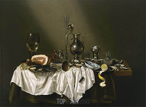 Banquet Piece with Ham, 1656 | Claesz Heda| Painting Reproduction