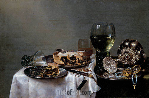 Breakfast Table with Blackberry Pie, 1631 | Claesz Heda | Painting Reproduction