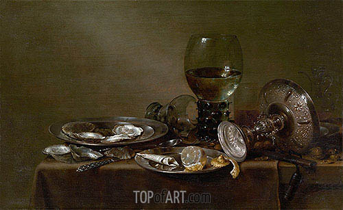 Claesz Heda | Still Life with Oysters, a Silver Tazza and Glassware, 1635