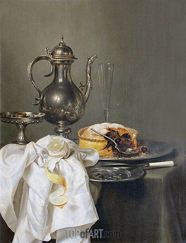 Still Life with Silver Ewer and Pie, 1645 | Claesz Heda| Painting Reproduction