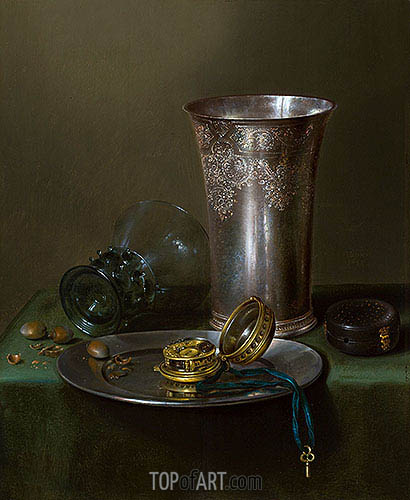 A Still Life with a Silver Goblet and a Watch on a Pewter Plate, undated | Claesz Heda | Painting Reproduction