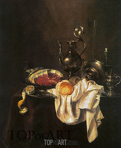 Still Life of Ham and Silver Plate, 1649 | Claesz Heda| Painting Reproduction