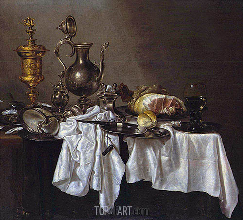 Still Life with a Silver Ewer, Nautilus Cup and Ham, c.1650/55 | Claesz Heda | Painting Reproduction