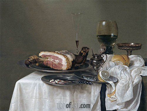 A Still Life with a Roemer, Silver Tazza and Ham, 1642 | Claesz Heda | Painting Reproduction