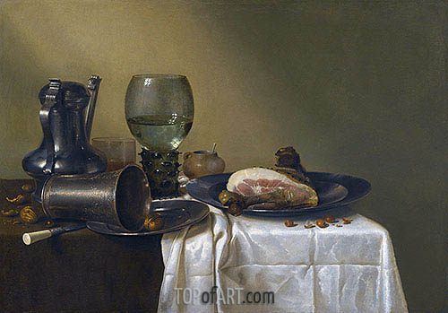 Still Life of a Pewter Kanne, a Roemer, an Overturned Silver Beaker Resting on a Pewter Plate, 1634 | Claesz Heda | Painting Reproduction