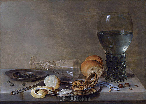 Still Life of a Roemer and a Facon de Venise, 1630 | Claesz Heda | Painting Reproduction