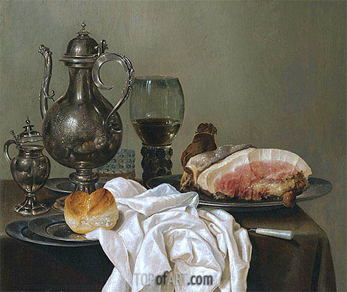 A Still Life with a Silver Tazza, a Roemer with White Wine and Ham, undated | Claesz Heda| Painting Reproduction