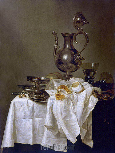 Still Life with Silver Ewer and Watch, 1643 | Claesz Heda | Gemälde Reproduktion