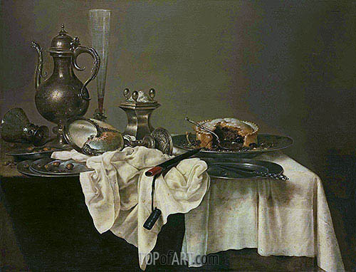 Claesz Heda | A Blackberry Pie, Upturned Nautilus Cup and a Silver Ewer, 1643