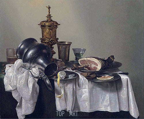 A Ham, a Peeled Lemon and an Upturned Tankard, 1655 | Claesz Heda| Painting Reproduction