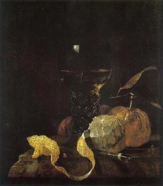 Still Life with Lemon, Oranges, and Glass of Wine, c.1663/64 by Willem Kalf | Painting Reproduction