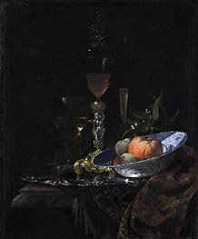 Wine Glass on a Gilded Silver Foot and a Bowl of Fruit, 1663 von Willem Kalf | Gemälde-Reproduktion