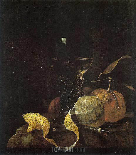 Still Life with Lemon, Oranges, and Glass of Wine, c.1663/64 | Willem Kalf | Painting Reproduction