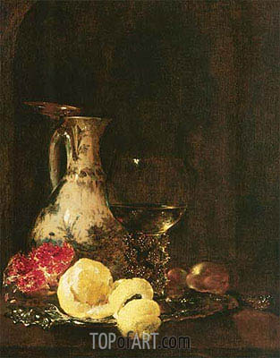Still Life with Delft Jug, 1653 | Willem Kalf| Painting Reproduction