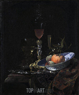 Wine Glass on a Gilded Silver Foot and a Bowl of Fruit, 1663 | Willem Kalf| Gemälde Reproduktion