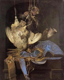 Still Life with Hunting Equipment and Dead Birds, 1668 von Willem van Aelst | Gemälde-Reproduktion
