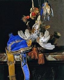 A Still Life of Game and a Blue Velvet Game Bag on a Marble Ledge | Willem van Aelst | Painting Reproduction