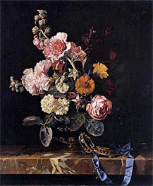 Vase with Flowers and Pocket Watch, 1656 von Willem van Aelst | Gemälde-Reproduktion