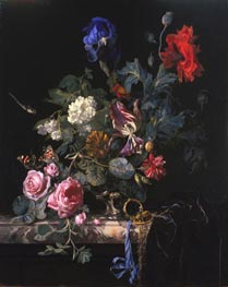 Flowers in a Silver Vase, 1663 von Willem van Aelst | Gemälde-Reproduktion