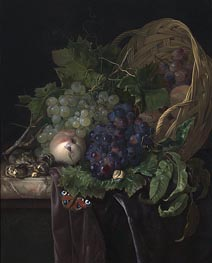 Peaches, Chestnuts and Grapes in an Overturned Basket Resting on a Partially Draped Marble Ledge, 1677 von Willem van Aelst | Gemälde-Reproduktion