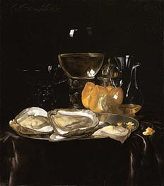 Still Life with a Roemer and Dish of Oysters, 1675 von Willem van Aelst | Gemälde-Reproduktion