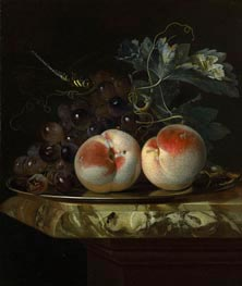 A Still Life with Two Peaches and Bunch of Grapes on a Silver Plate set on a Marble Slab, 1664 von Willem van Aelst | Gemälde-Reproduktion