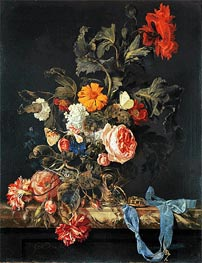 Vase of Flowers with Pocket Watch, 1663 von Willem van Aelst | Gemälde-Reproduktion