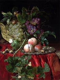 Still Life with Grapes and Peaches, undated von Willem van Aelst | Gemälde-Reproduktion