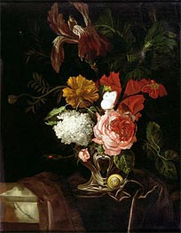 Flowers in a Silver Vase with a Snail and a Butterfly, undated von Willem van Aelst | Gemälde-Reproduktion