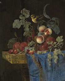 Still Life with Fruits and a Finch, undated von Willem van Aelst | Gemälde-Reproduktion