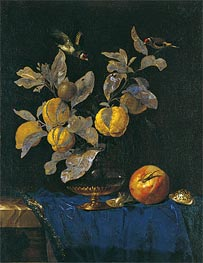 Glass Vase with Branches Bearing Fruit, 1664 by Willem van Aelst | Painting Reproduction
