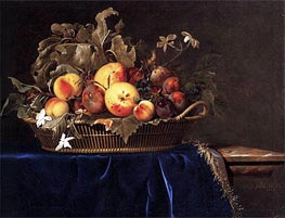 Still Life with a Basket of Fruit on a Marble Ledge, 1650 by Willem van Aelst | Painting Reproduction