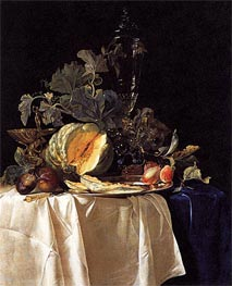 Still Life with Fruit and Crystal Vase, 1652 by Willem van Aelst | Painting Reproduction