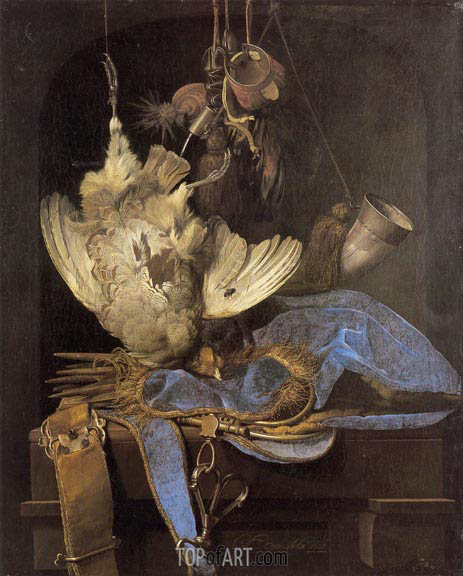 Still Life with Hunting Equipment and Dead Birds, 1668 | Willem van Aelst | Painting Reproduction