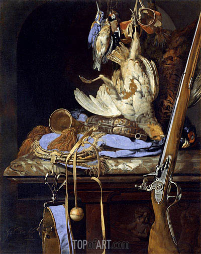 Dead Birds and Hunting Gear, 1664 | Willem van Aelst | Painting Reproduction