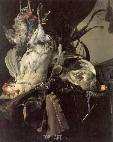 Still Life of Dead Birds and Hunting Weapons, 1660 | Willem van Aelst | Gemälde Reproduktion
