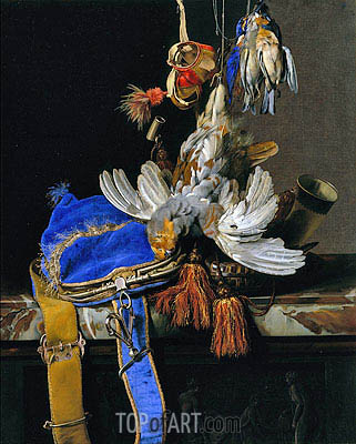 A Still Life of Game and a Blue Velvet Game Bag on a Marble Ledge, c.1665 | Willem van Aelst| Gemälde Reproduktion