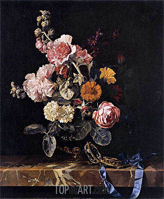 Vase with Flowers and Pocket Watch, 1656 | Willem van Aelst | Gemälde Reproduktion